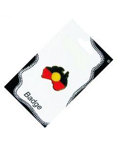 Australia Shape Aboriginal Flag Metal Badge