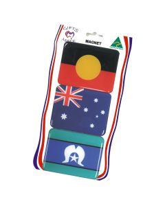 Magnet Resin Set Of 3 Flags Of Australia