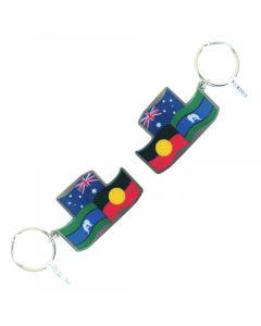 Australia, Aboriginal & Torres Strait Islander Flag Keyring Metal 60x38mm