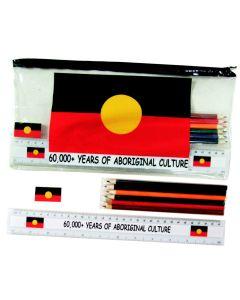 Pencil Case Set PVC Aboriginal Flag 60,000+ Years 33 x 17cm