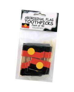 Toothpick Birchwood Aboriginal Flag Pack Of 50